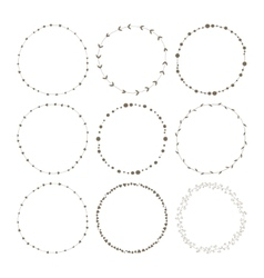 Set of 9 circle cute hand drawn frames vector