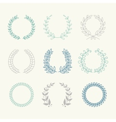 Collection of laurels floral elements and vector