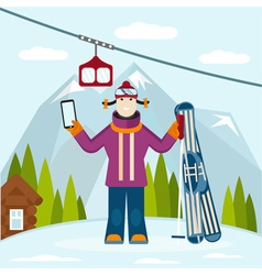 Flat design on selfie ski and snowboard theme vector