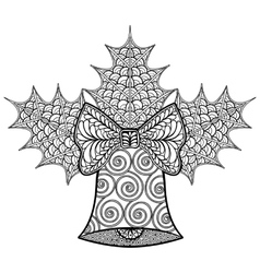 Coloring pages with Christmas decorative Bell and vector image