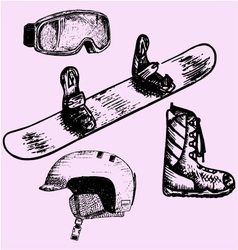 Snowboarding equipment vector