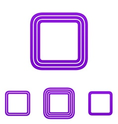 Purple line square logo design set vector