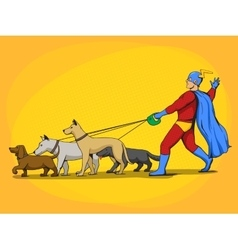 Superhero man and dogs comic book vector