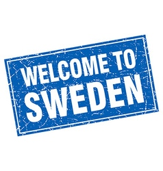 Sweden blue square grunge welcome to stamp vector