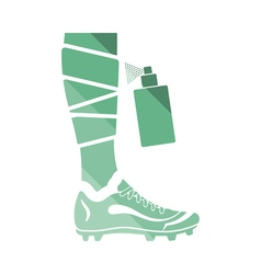 Soccer bandaged leg with aerosol anesthetic icon vector