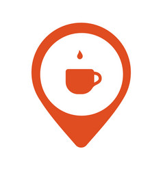A cup of coffe in location logo isolated in vector
