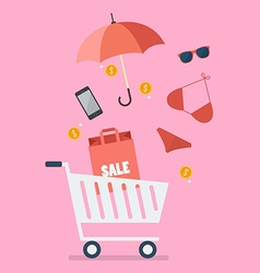 Add women clothing and accessories into cart vector