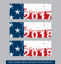 american flag independence day timeline cover - vector image vector image