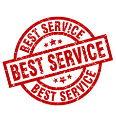 Best service round red grunge stamp vector