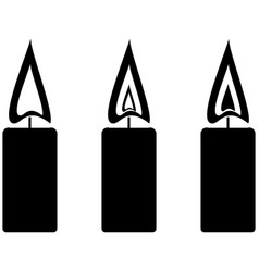 Black simple candles with fire vector
