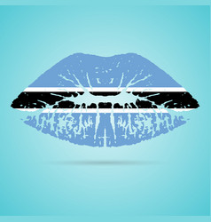 botswana flag lipstick on the lips isolated on a vector image vector image