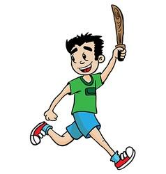 Boy with wooden sword vector