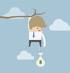 Businessman cut the rope of money sack to survive vector image