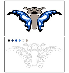 Butterfly coloring page isolated vector