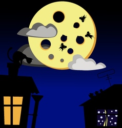 Cat mouse and cheese moon vector