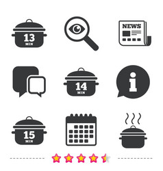 cooking pan icons boil fifteen minutes vector image