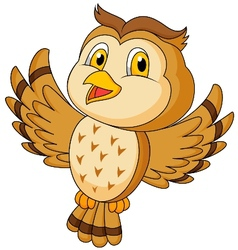 Cute owl cartoon flying vector