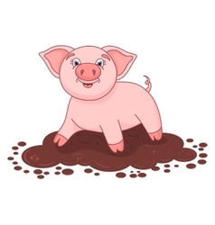 Cute pig in a puddle vector