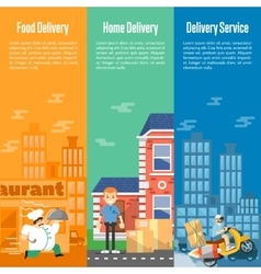 Delivery service vertical banners set vector