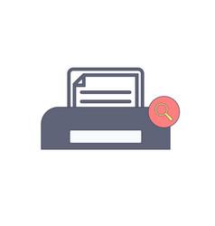 Document paper print printer search icon vector