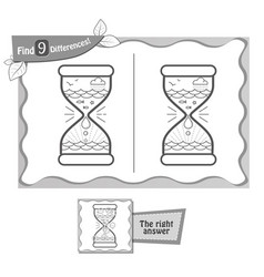 find 9 differences game black hourglass vector image vector image