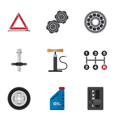 Flat icon service set of petrol automatic vector