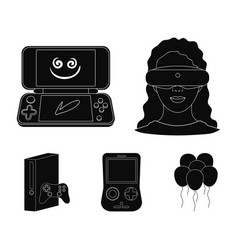 Game console and virtual reality black icons in vector