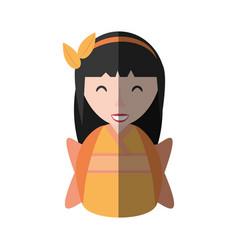Girl geisha kimono diadem shadow vector