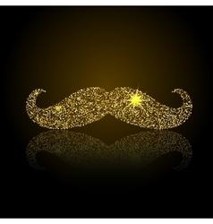 Gold retro mustache icon vector
