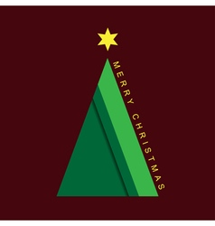 greeting card - Christmas green tree with star vector image vector image
