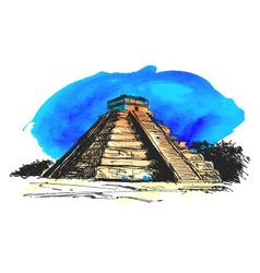 hand colored drawing maya pyramid vector image