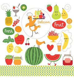 Healthy eating fruits food collect vector