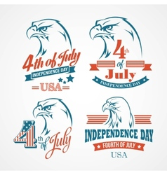 Independence day typography and an eagle vector