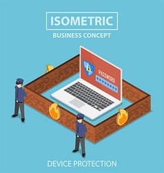Isometric laptop computer protected by security vector