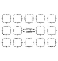 large set of black vintage square frames vector image