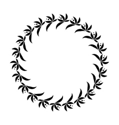 Laurel wreath circle tattoo black stylized vector