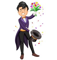 Magician pulling flowers out of a hat vector