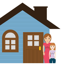 Mother and daughter house family vector