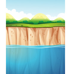 nature scene with cliff and ocean vector image vector image