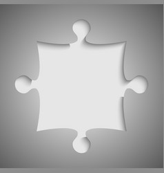 One grey piece flat puzzle jigsaw - vector