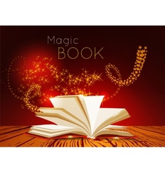 Opened book with magic light vector image vector image