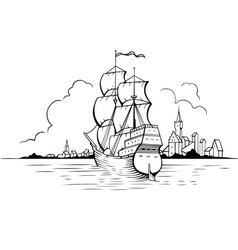 Sailing boat and town vector image vector image