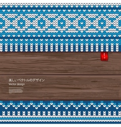 Seamless knitted pattern on a wood background vector