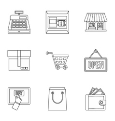 Shopping icons set outline style vector image vector image