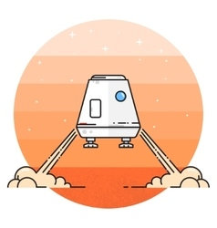 Space module landing on Mars vector image vector image