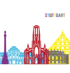 Stuttgart skyline pop vector