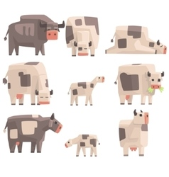 Toy Simple Geometric Farm Cows Standing And Laying vector image