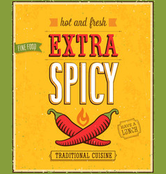 vintage extra spicy poster vector image vector image