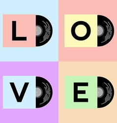 Vinyl cover with love word vector