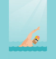 Young caucasian sportsman swimming vector